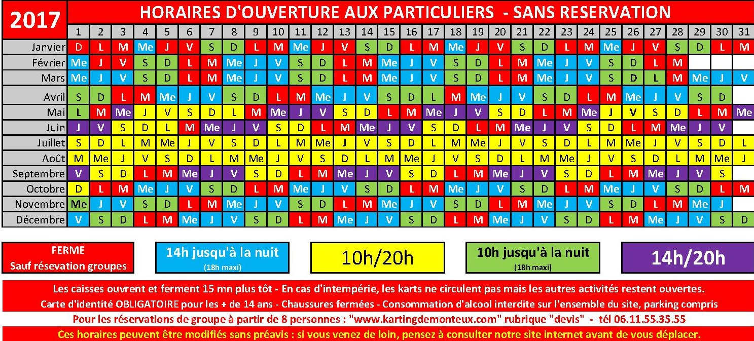 Horaires 2017